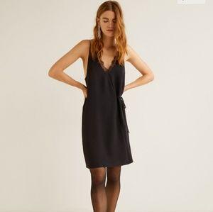 Little black dress wrap with lace